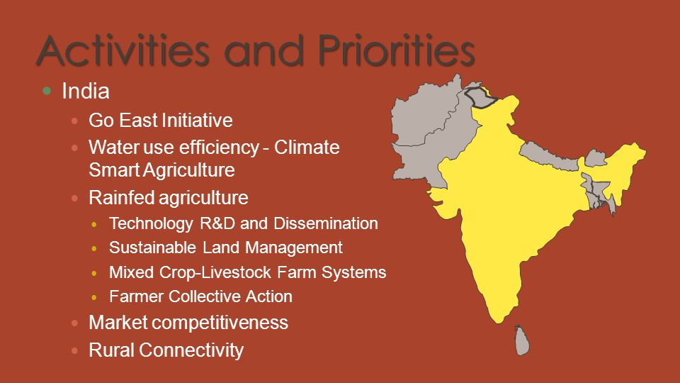 Activities and Priorities India Go East Initiative Water use efficiency - Climate Smart Agriculture Rainfed agriculture Technology R&D and Disseminati
