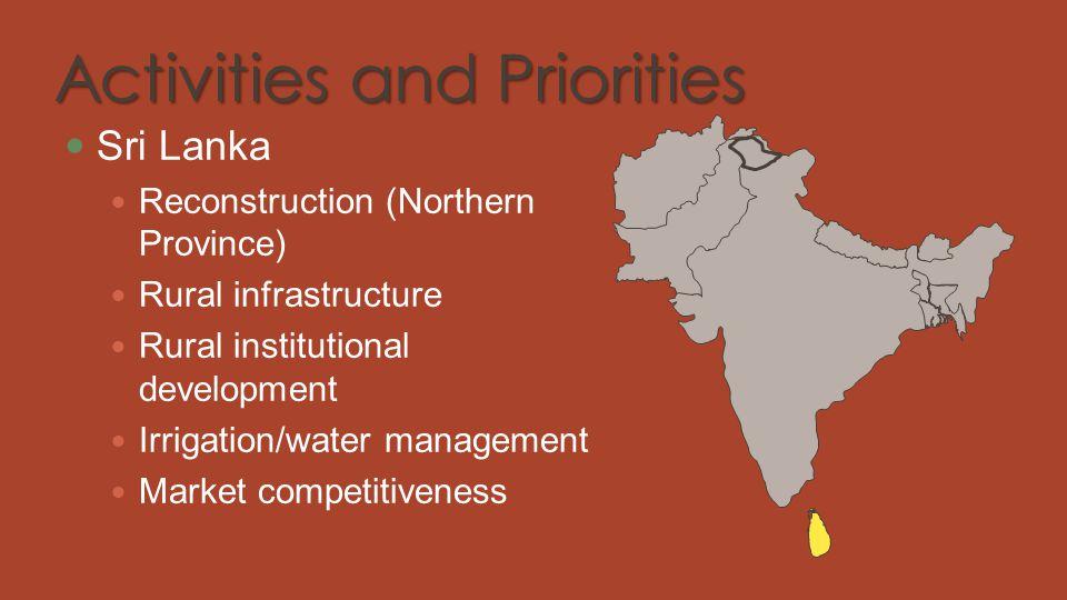 Activities and Priorities Sri Lanka Reconstruction (Northern Province) Rural infrastructure Rural institutional development Irrigation/water managemen