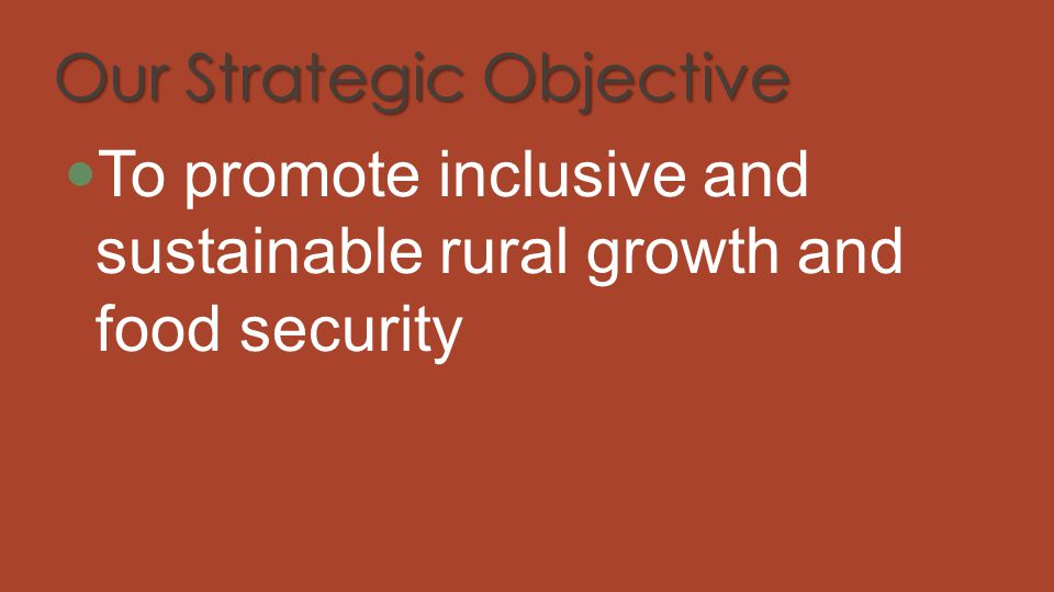 Our Strategic Objective To promote inclusive and sustainable rural growth and food security