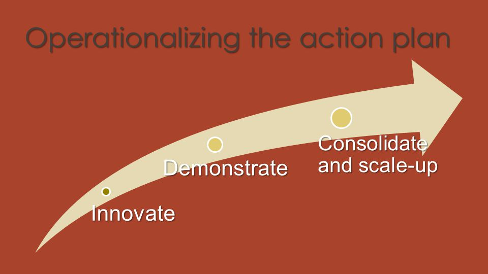 Operationalizing the action plan Innovate Demonstrate Consolidate and scale-up