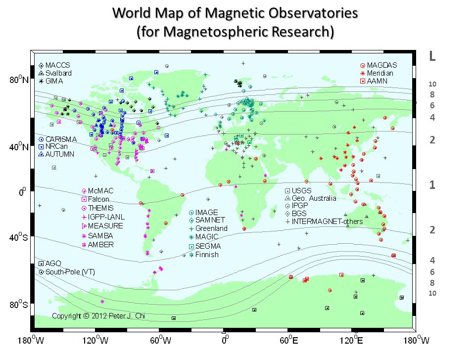 World Map of Magnetic Observatories (for Magnetospheric Research) L 10 8 6 4 2 1 2 4 6 8 10