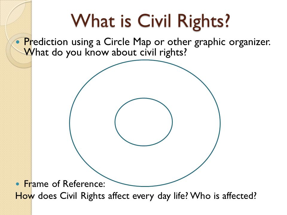 What is Civil Rights. Prediction using a Circle Map or other graphic organizer.