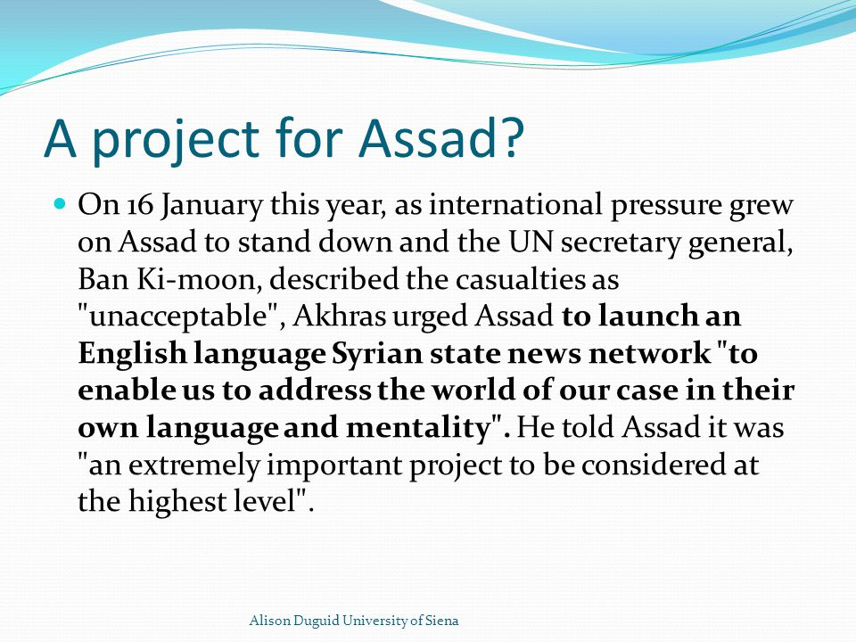 A project for Assad.