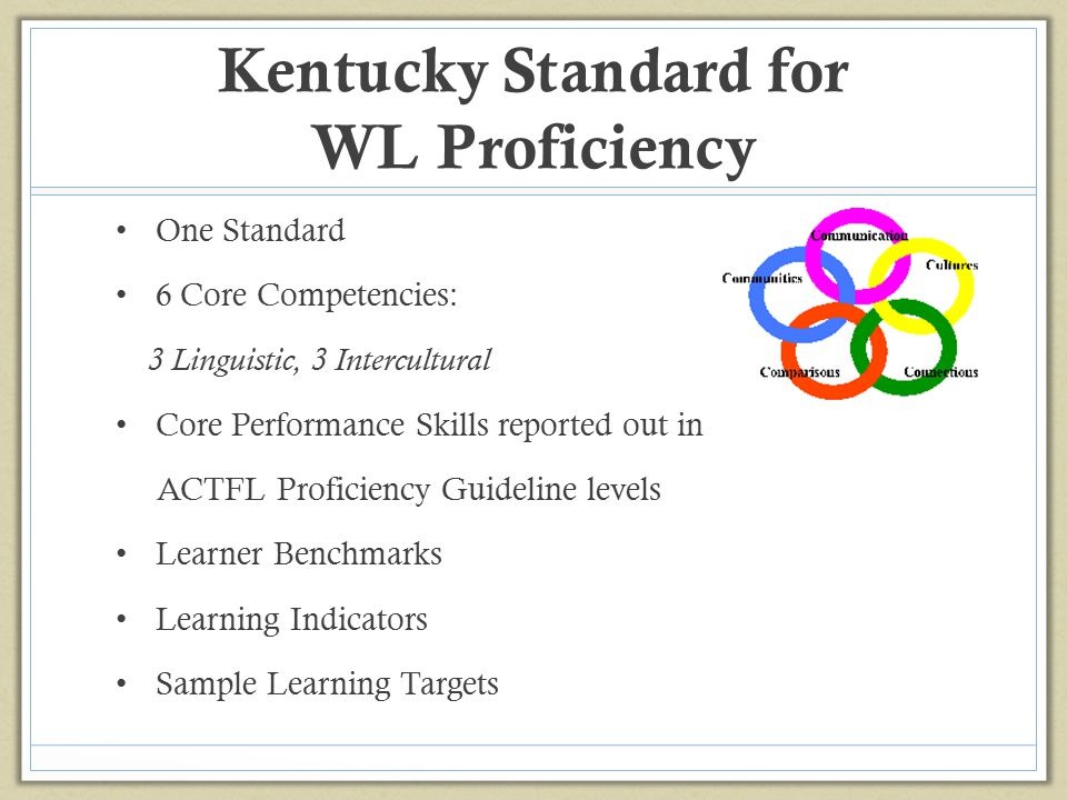 Kentucky Standard for WL Proficiency One Standard 6 Core Competencies: 3 Linguistic, 3 Intercultural Core Performance Skills reported out in ACTFL Pro