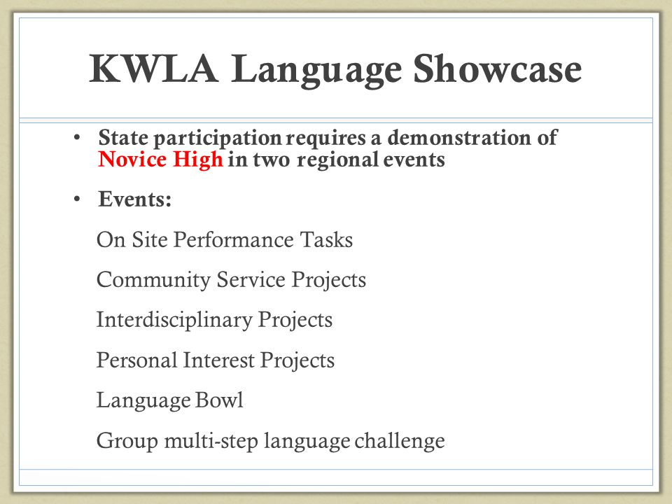 KWLA Language Showcase State participation requires a demonstration of Novice High in two regional events Events: On Site Performance Tasks Community