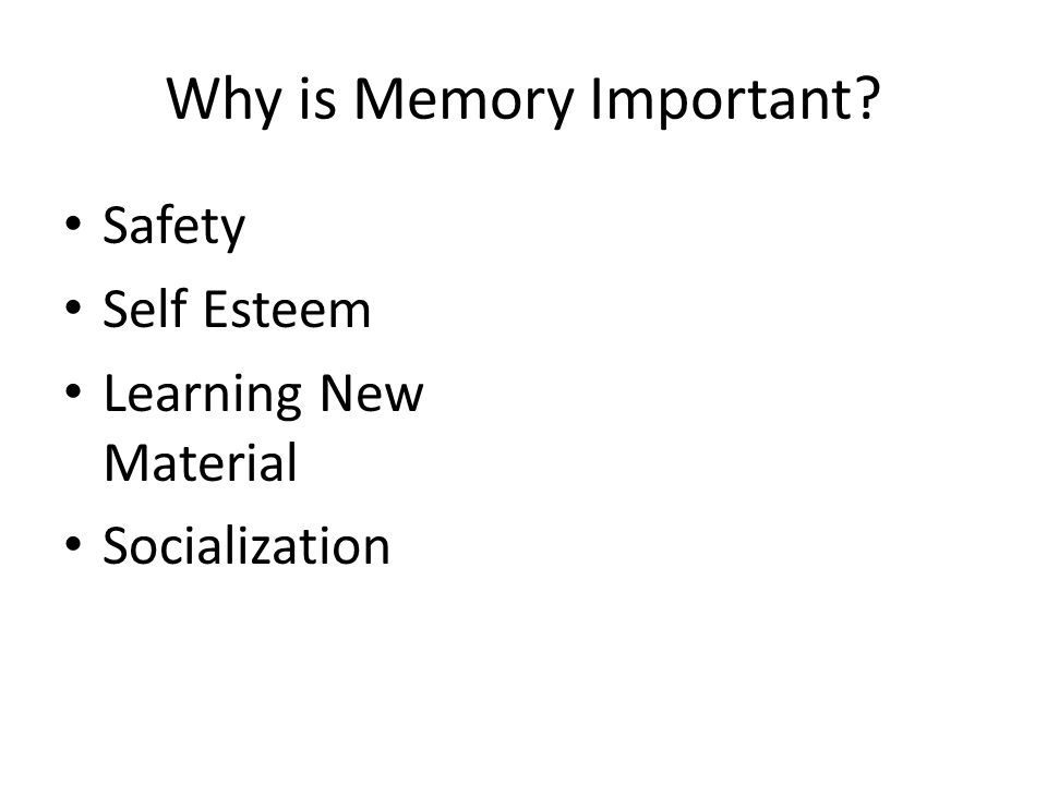 Why is Memory Important? Safety Self Esteem Learning New Material Socialization