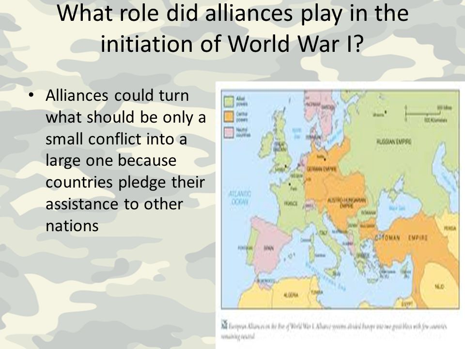 What role did alliances play in the initiation of World War I? Alliances could turn what should be only a small conflict into a large one because coun