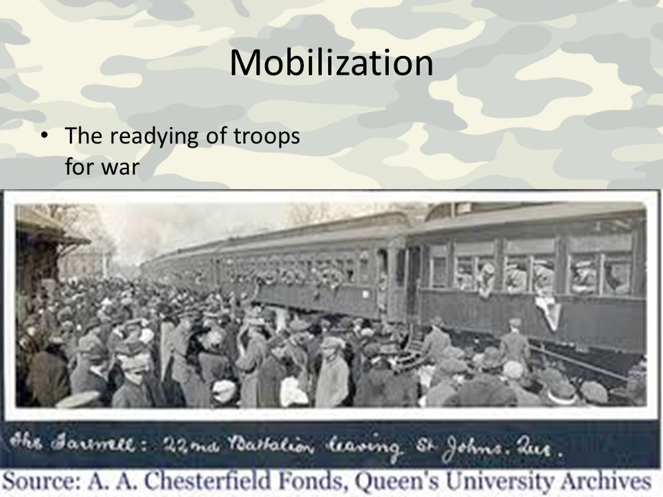 Mobilization The readying of troops for war