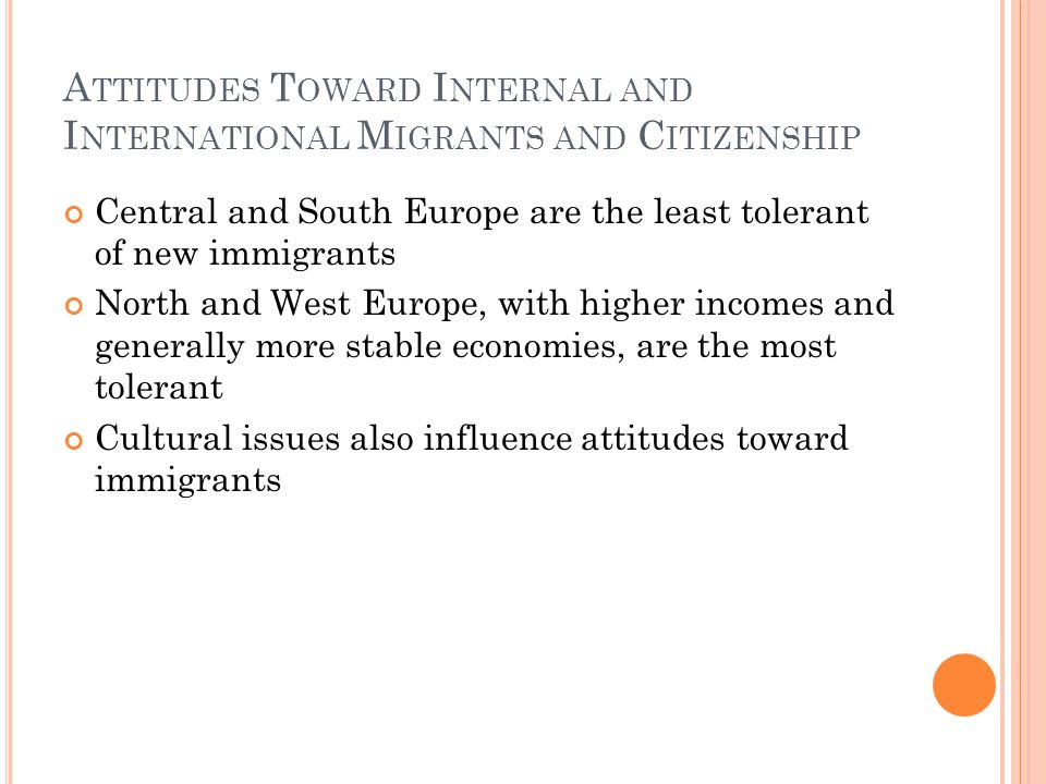 A TTITUDES T OWARD I NTERNAL AND I NTERNATIONAL M IGRANTS AND C ITIZENSHIP Central and South Europe are the least tolerant of new immigrants North and West Europe, with higher incomes and generally more stable economies, are the most tolerant Cultural issues also influence attitudes toward immigrants