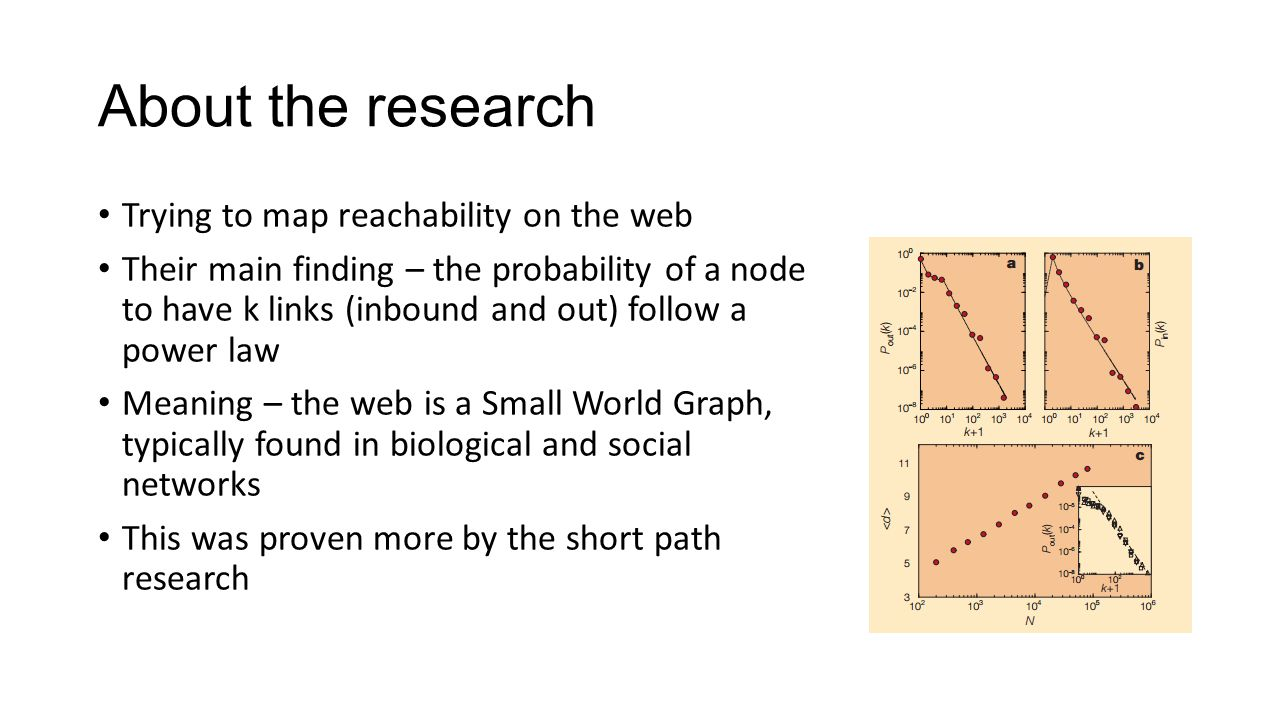 About the research Trying to map reachability on the web Their main finding – the probability of a node to have k links (inbound and out) follow a power law Meaning – the web is a Small World Graph, typically found in biological and social networks This was proven more by the short path research