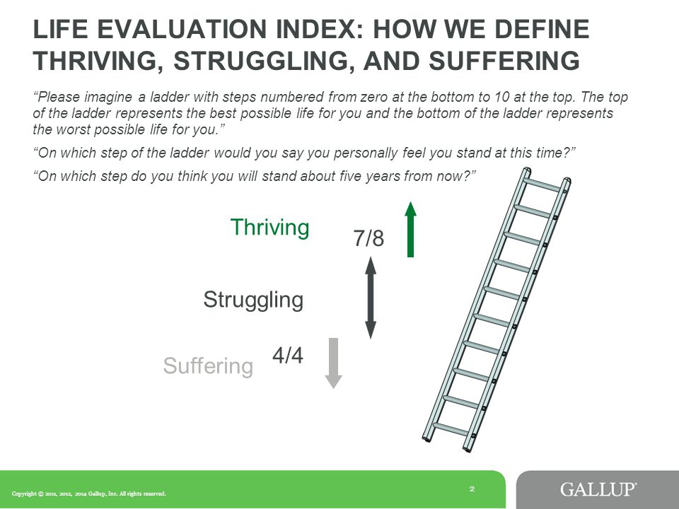 2 LIFE EVALUATION INDEX: HOW WE DEFINE THRIVING, STRUGGLING, AND SUFFERING Thriving Suffering 4/4 7/8 Struggling Please imagine a ladder with steps numbered from zero at the bottom to 10 at the top.