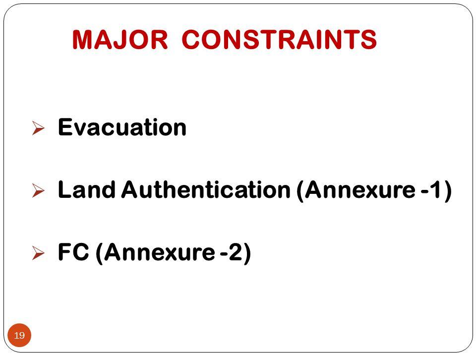 MAJOR CONSTRAINTS  Evacuation  Land Authentication (Annexure -1)  FC (Annexure -2) 19