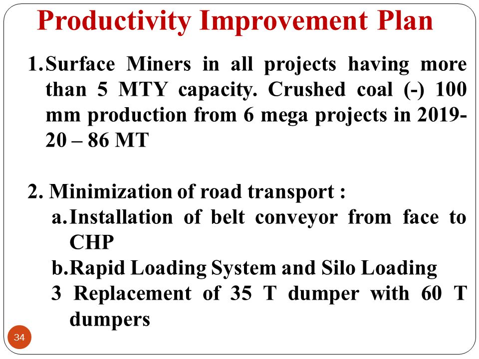 Productivity Improvement Plan 34 1.Surface Miners in all projects having more than 5 MTY capacity. Crushed coal (-) 100 mm production from 6 mega proj