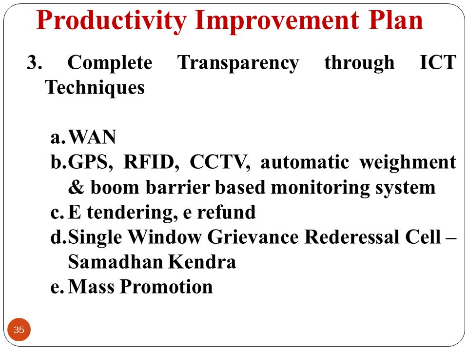 Productivity Improvement Plan 35 3. Complete Transparency through ICT Techniques a.WAN b.GPS, RFID, CCTV, automatic weighment & boom barrier based mon