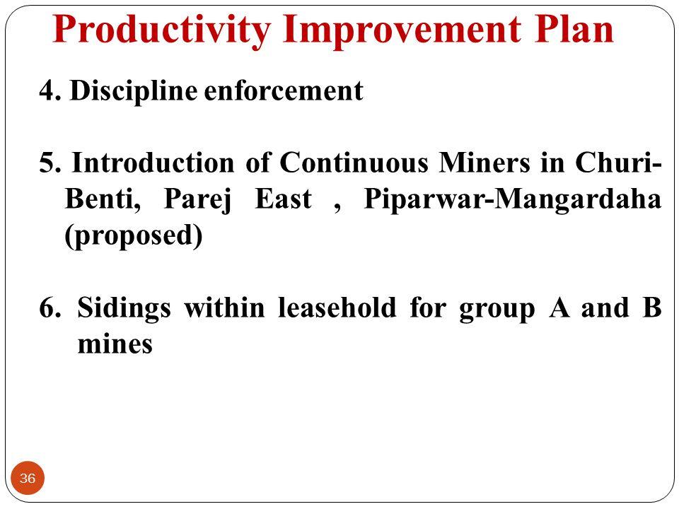 Productivity Improvement Plan 36 4. Discipline enforcement 5. Introduction of Continuous Miners in Churi- Benti, Parej East, Piparwar-Mangardaha (prop