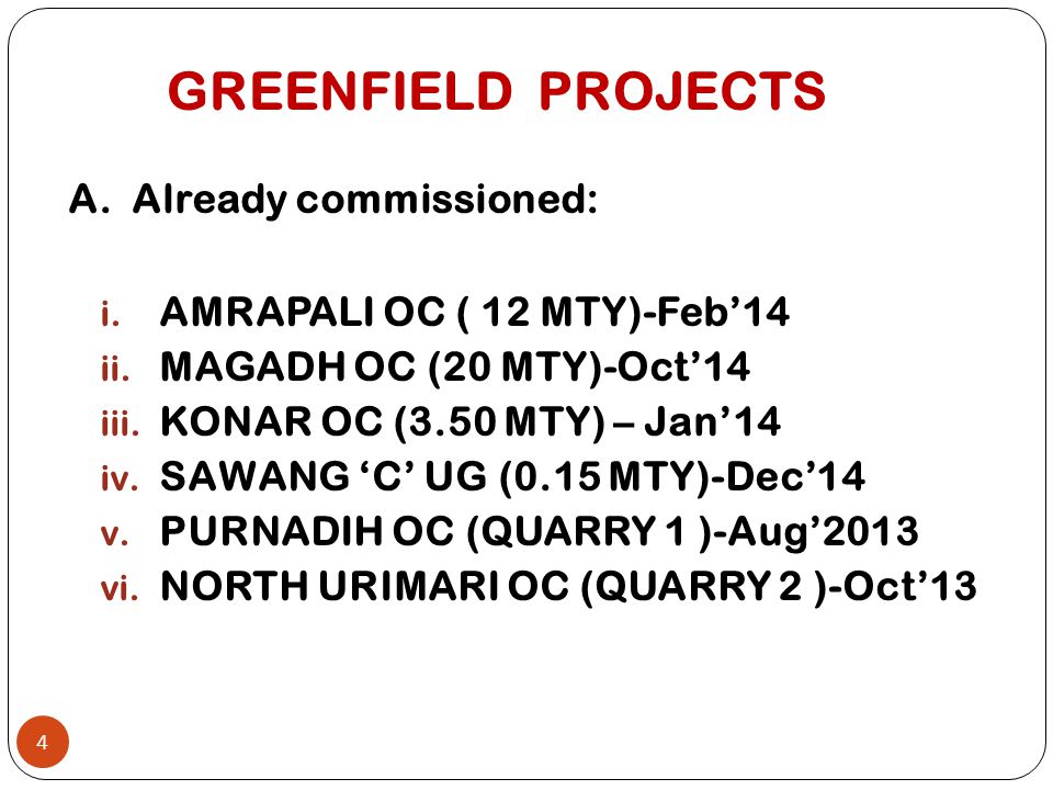 GREENFIELD PROJECTS A. Already commissioned: i. AMRAPALI OC ( 12 MTY)-Feb'14 ii. MAGADH OC (20 MTY)-Oct'14 iii. KONAR OC (3.50 MTY) – Jan'14 iv. SAWAN