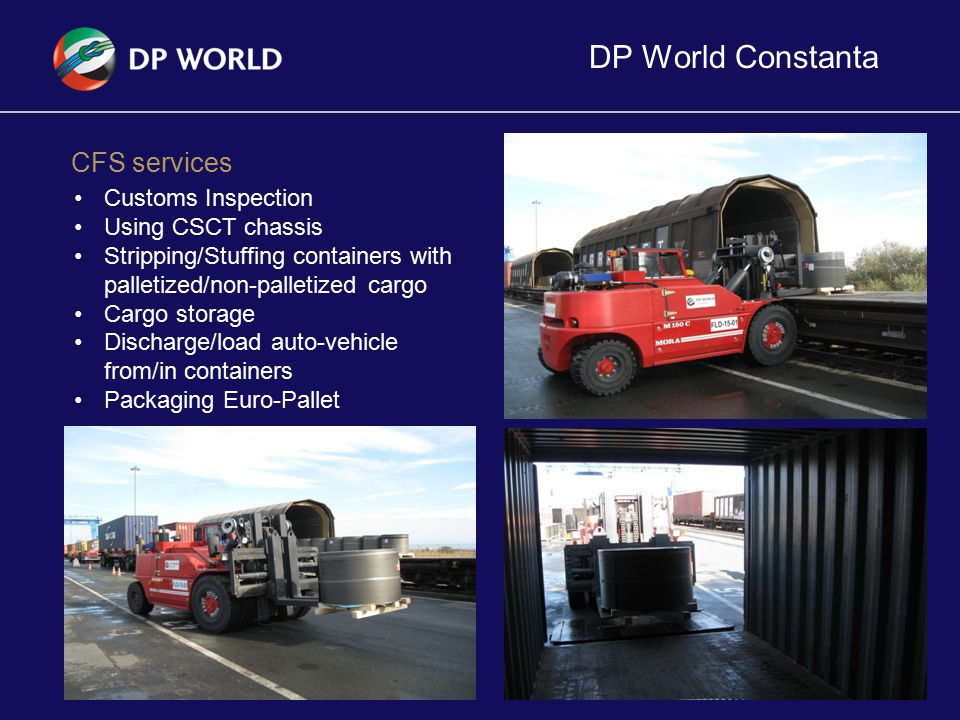 DP World Constanta 12 CFS services Customs Inspection Using CSCT chassis Stripping/Stuffing containers with palletized/non-palletized cargo Cargo stor