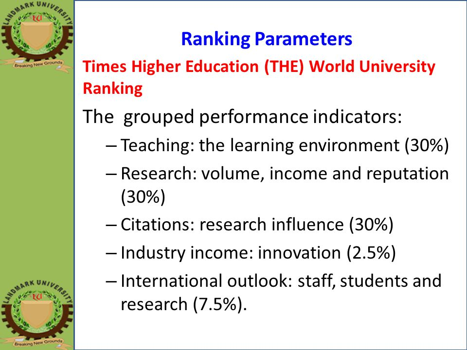 Ranking Parameters Times Higher Education (THE) World University Ranking The grouped performance indicators: – Teaching: the learning environment (30%) – Research: volume, income and reputation (30%) – Citations: research influence (30%) – Industry income: innovation (2.5%) – International outlook: staff, students and research (7.5%).