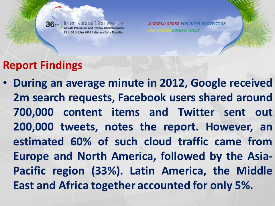 Report Findings During an average minute in 2012, Google received 2m search requests, Facebook users shared around 700,000 content items and Twitter sent out 200,000 tweets, notes the report.