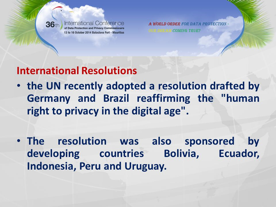 International Resolutions the UN recently adopted a resolution drafted by Germany and Brazil reaffirming the