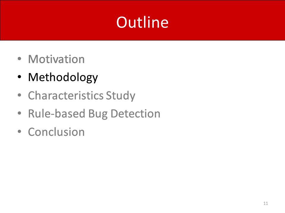 Outline Motivation Methodology Characteristics Study Rule-based Bug Detection Conclusion 11 Motivation Methodology Characteristics Study Rule-based Bu