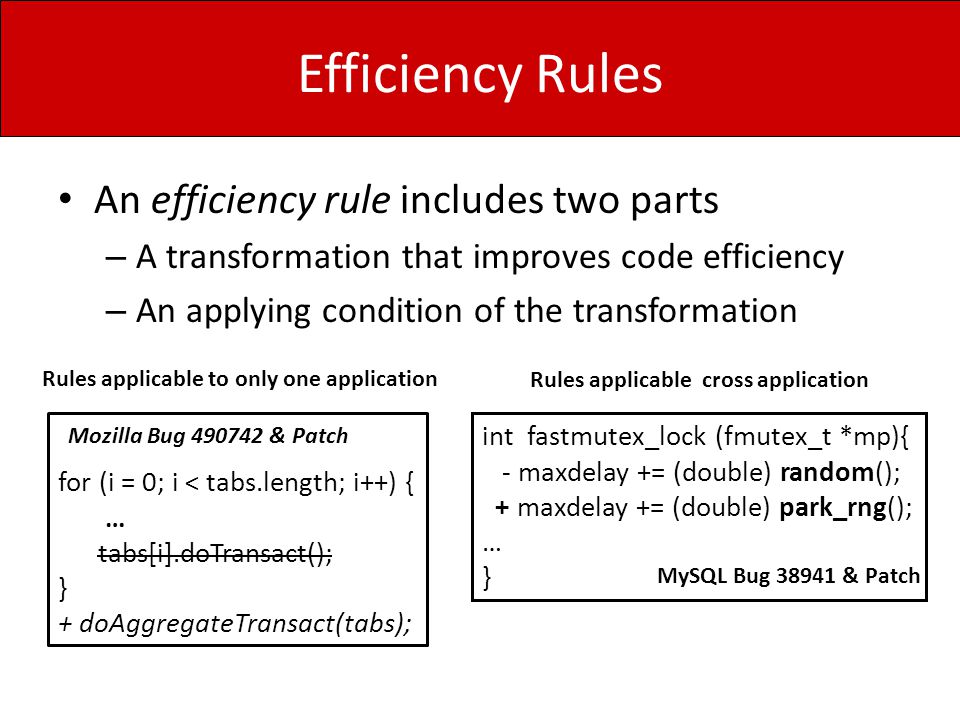 Efficiency Rules An efficiency rule includes two parts – A transformation that improves code efficiency – An applying condition of the transformation