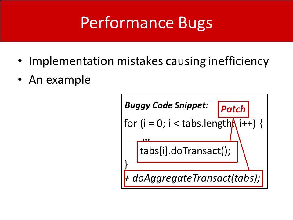 How Performance Bugs Manifest Performance Bug Avoidance Performance Testing
