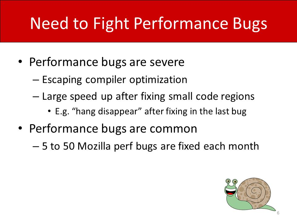 Rule-Violation Detection Results 17 checkers find PPPs in original buggy versions 13 checkers find 332 PPPs in latest versions Found by cross-application checking Inherits from buggy versions Introduced later * PPP: Potential Performance Problem Efficiency rules and rule-based performance-bug detection is promising!