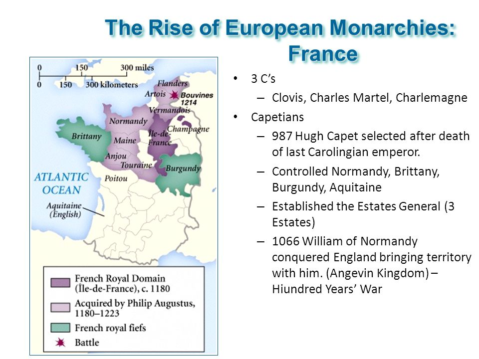 The Rise of European Monarchies: France 3 C's – Clovis, Charles Martel, Charlemagne Capetians – 987 Hugh Capet selected after death of last Carolingia