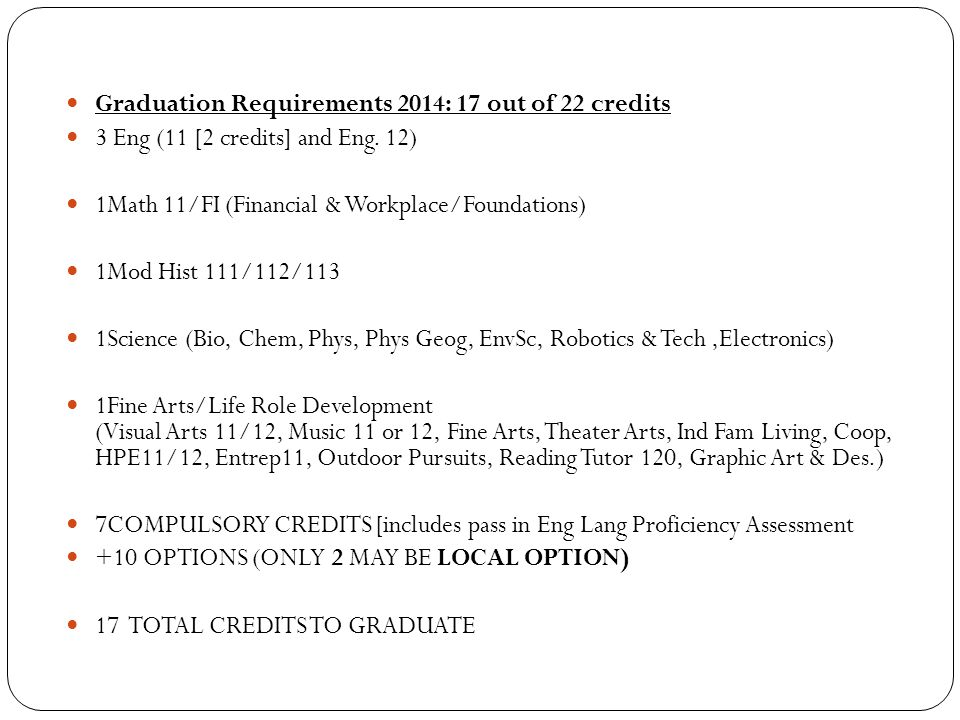 Graduation Requirements 2014: 17 out of 22 credits 3 Eng (11 [2 credits] and Eng.