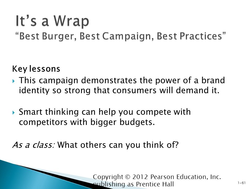 Key lessons  This campaign demonstrates the power of a brand identity so strong that consumers will demand it.