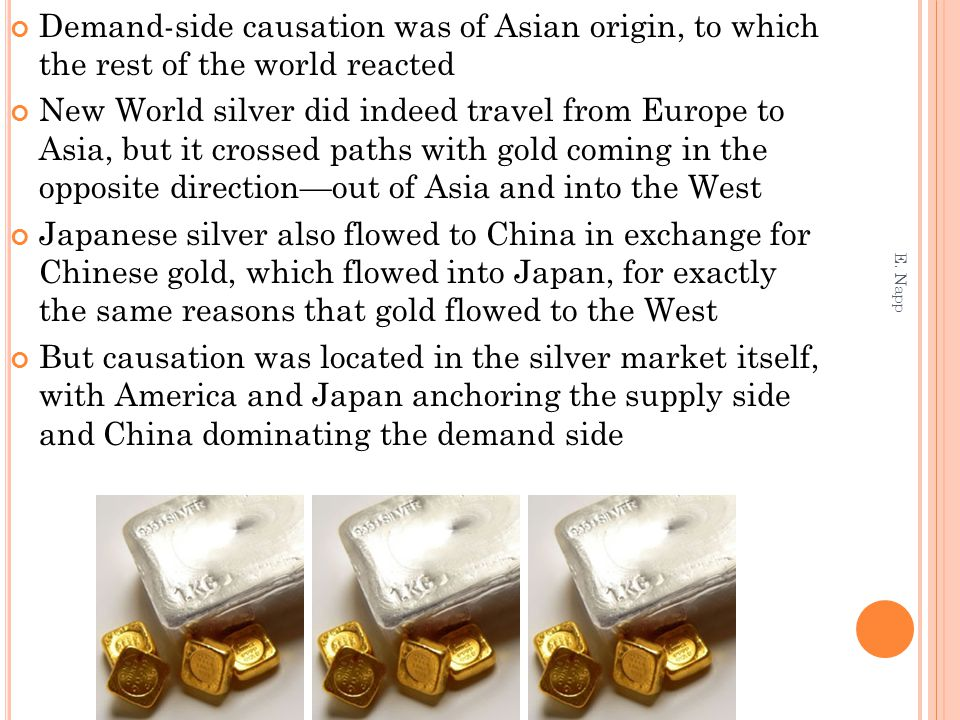 Demand-side causation was of Asian origin, to which the rest of the world reacted New World silver did indeed travel from Europe to Asia, but it crossed paths with gold coming in the opposite direction—out of Asia and into the West Japanese silver also flowed to China in exchange for Chinese gold, which flowed into Japan, for exactly the same reasons that gold flowed to the West But causation was located in the silver market itself, with America and Japan anchoring the supply side and China dominating the demand side E.