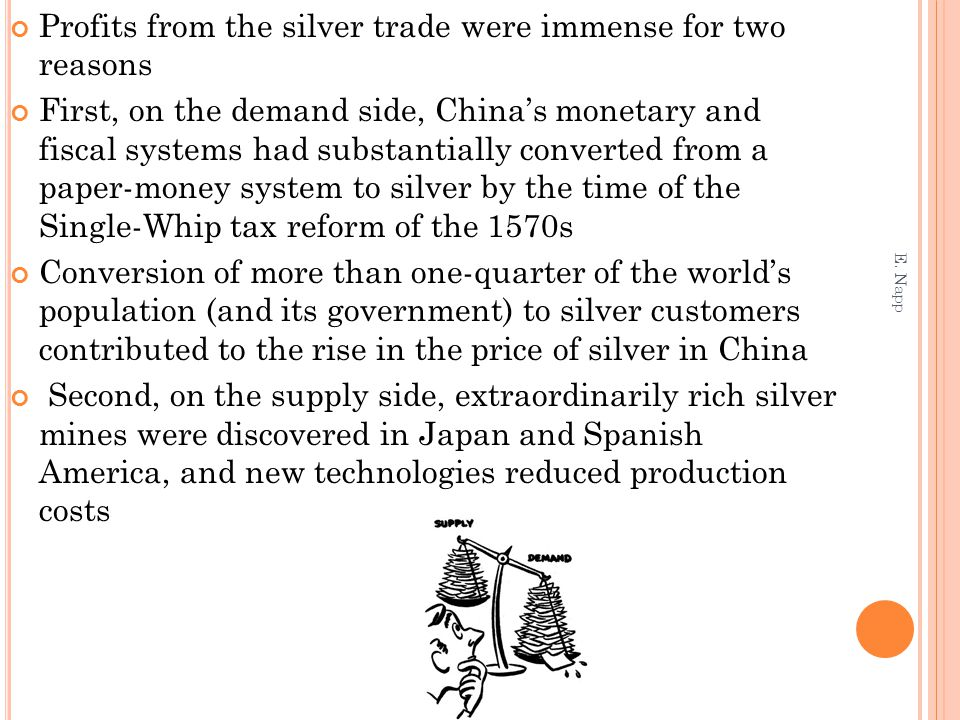 Profits from the silver trade were immense for two reasons First, on the demand side, China's monetary and fiscal systems had substantially converted from a paper-money system to silver by the time of the Single-Whip tax reform of the 1570s Conversion of more than one-quarter of the world's population (and its government) to silver customers contributed to the rise in the price of silver in China Second, on the supply side, extraordinarily rich silver mines were discovered in Japan and Spanish America, and new technologies reduced production costs E.
