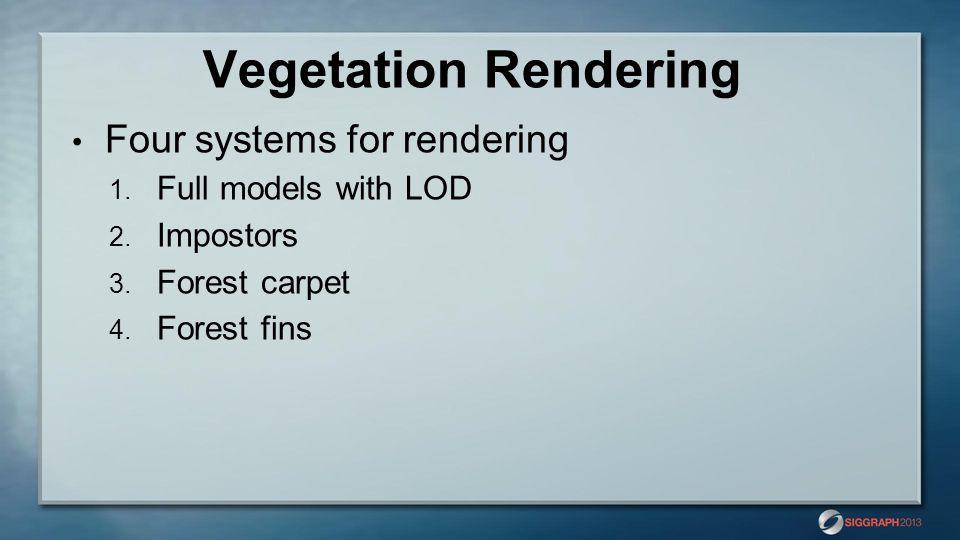 Vegetation Rendering Four systems for rendering 1.