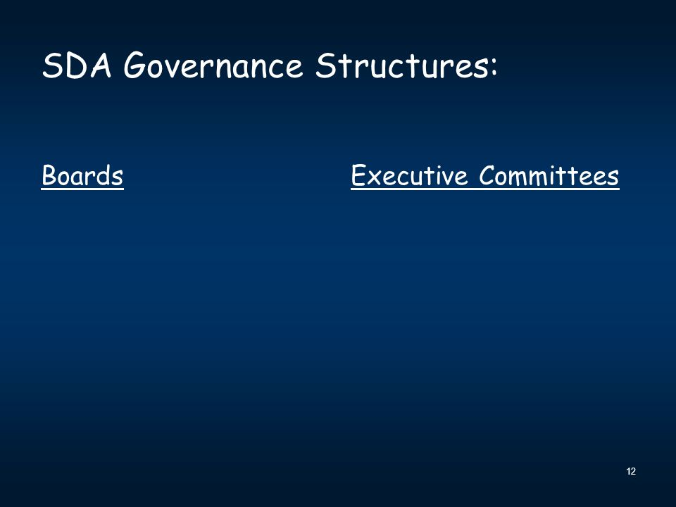 SDA Governance Structures: BoardsExecutive Committees 12