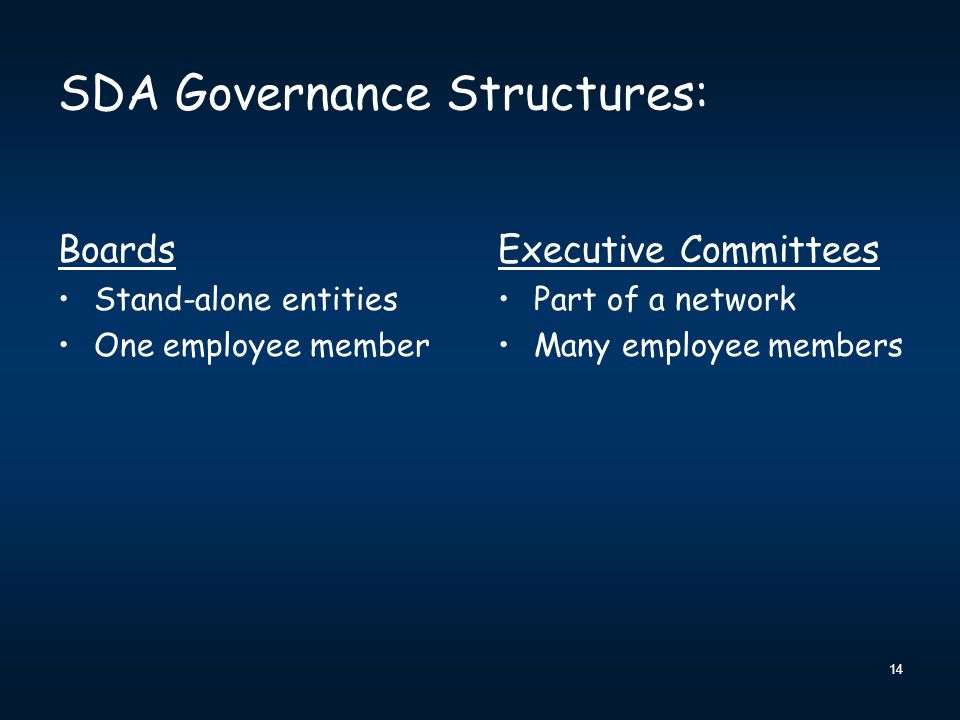 SDA Governance Structures: Boards Stand-alone entities One employee member Executive Committees Part of a network Many employee members 14