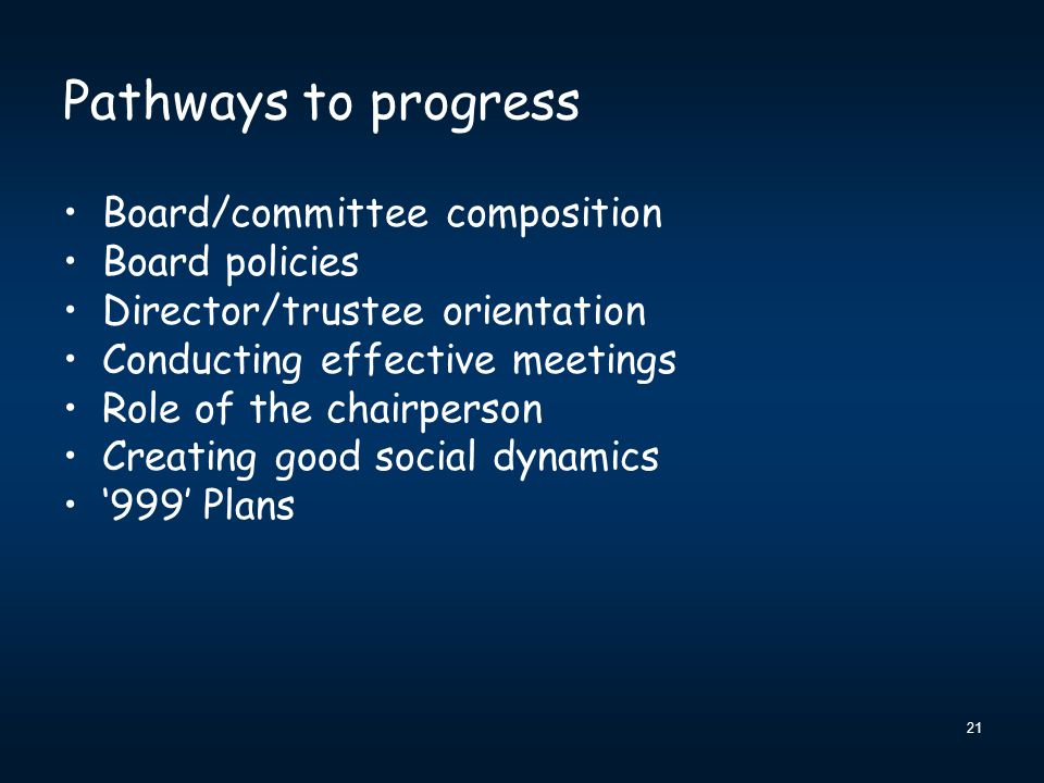 Pathways to progress Board/committee composition Board policies Director/trustee orientation Conducting effective meetings Role of the chairperson Creating good social dynamics '999' Plans 21