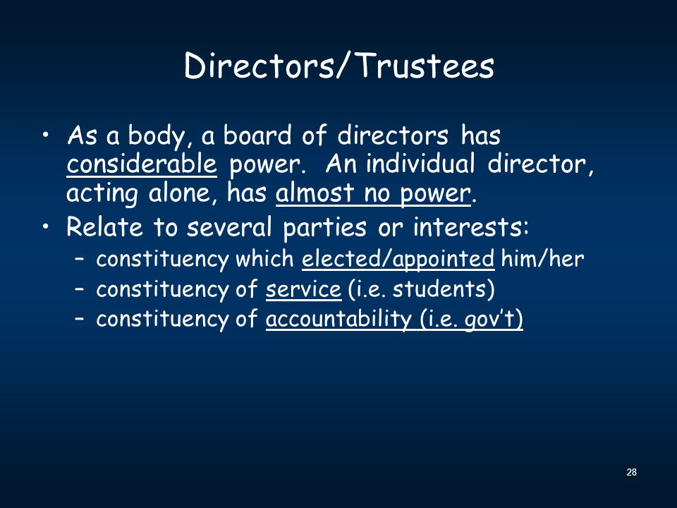 28 Directors/Trustees As a body, a board of directors has considerable power.