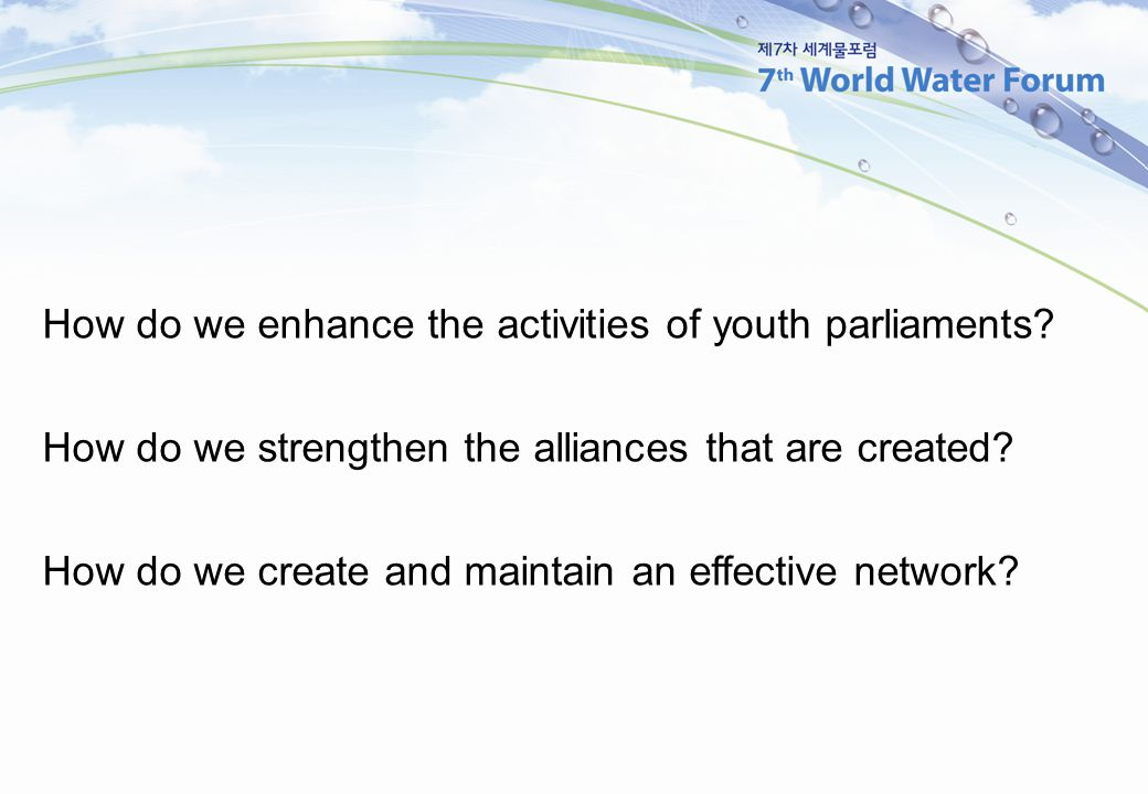 How do we enhance the activities of youth parliaments.