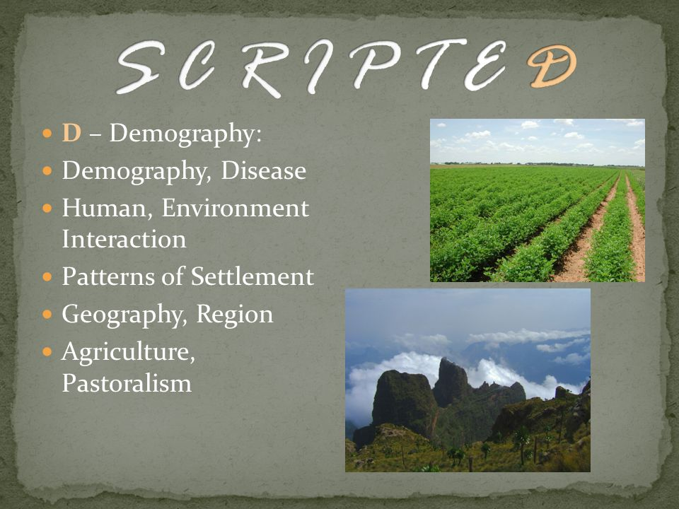 D – Demography: Demography, Disease Human, Environment Interaction Patterns of Settlement Geography, Region Agriculture, Pastoralism