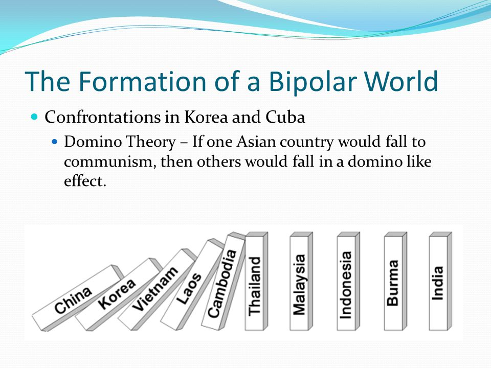 The Formation of a Bipolar World Confrontations in Korea and Cuba Domino Theory – If one Asian country would fall to communism, then others would fall in a domino like effect.