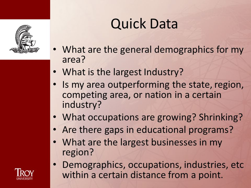 Quick Data What are the general demographics for my area.