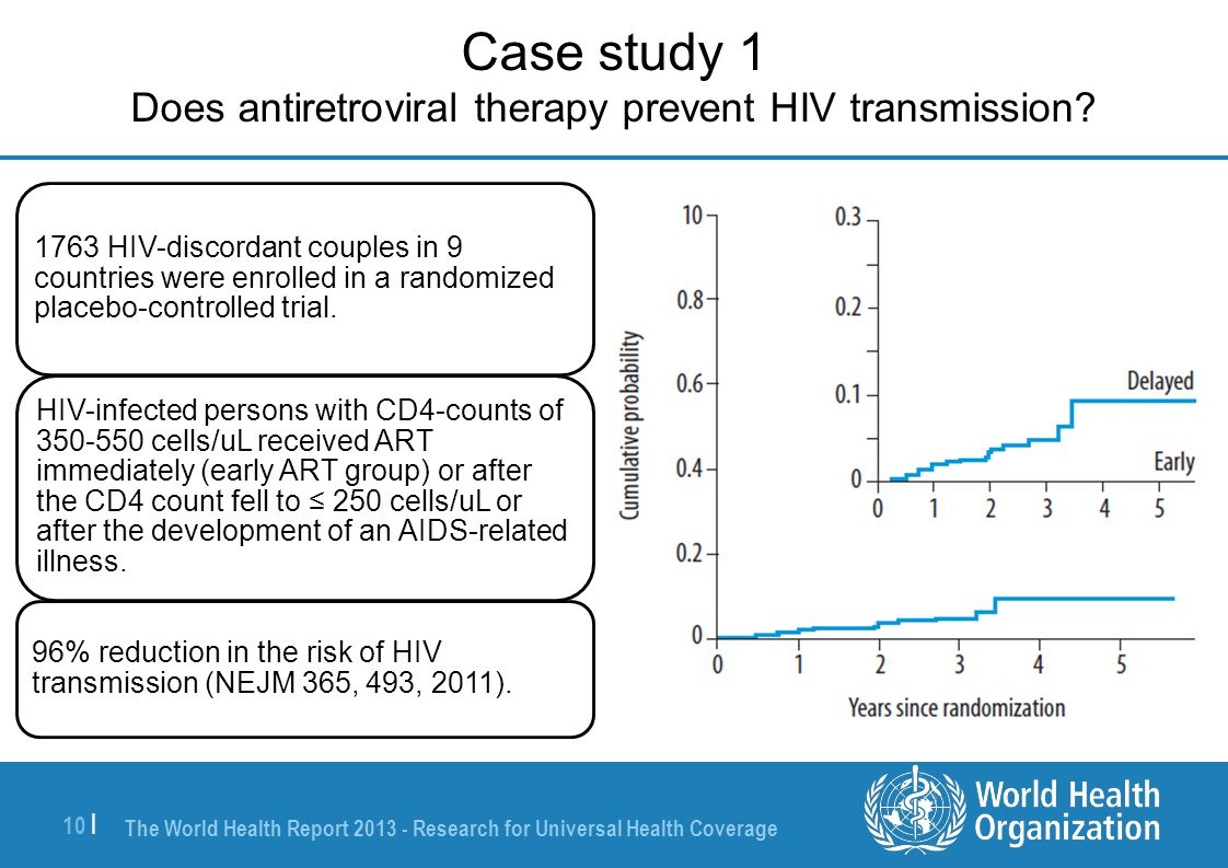 The World Health Report 2013 - Research for Universal Health Coverage 10 | Case study 1 Does antiretroviral therapy prevent HIV transmission.