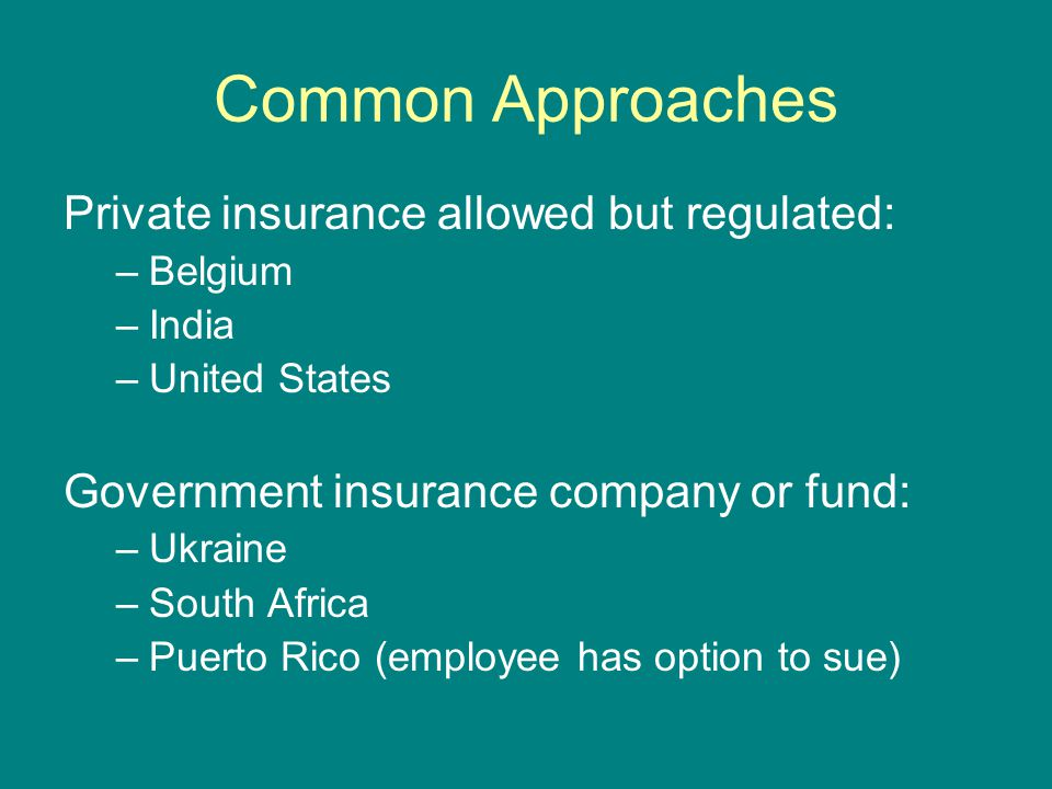 Common Approaches Private insurance allowed but regulated: –Belgium –India –United States Government insurance company or fund: –Ukraine –South Africa