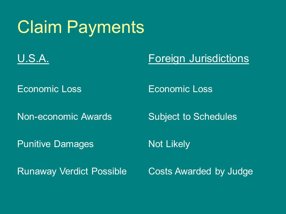 Claim Payments U.S.A. Economic Loss Non-economic Awards Punitive Damages Runaway Verdict Possible Foreign Jurisdictions Economic Loss Subject to Sched