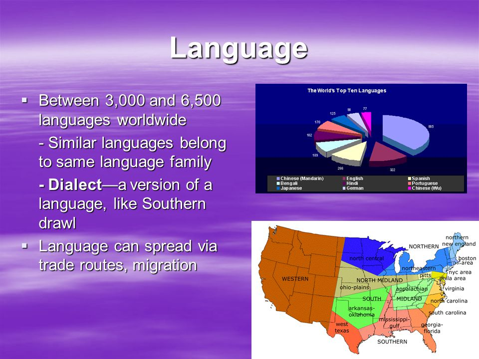 Language  Between 3,000 and 6,500 languages worldwide - Similar languages belong to same language family - Dialect—a version of a language, like Sout
