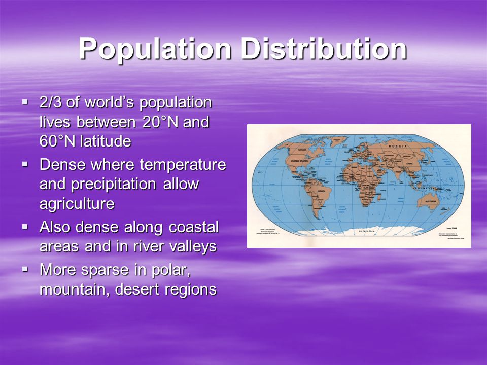 Population Distribution  2/3 of world's population lives between 20°N and 60°N latitude  Dense where temperature and precipitation allow agriculture