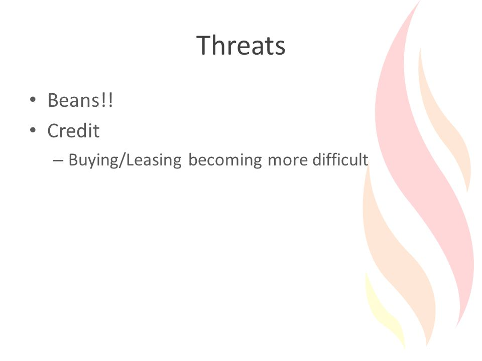 Threats Beans!! Credit – Buying/Leasing becoming more difficult