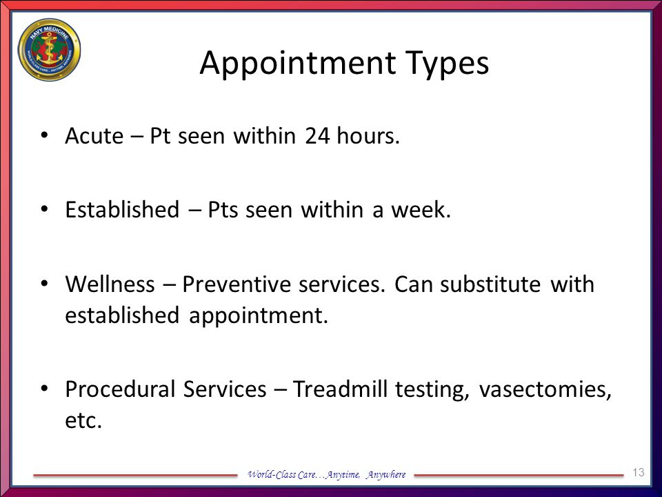 World-Class Care…Anytime, Anywhere Appointment Types Acute – Pt seen within 24 hours. Established – Pts seen within a week. Wellness – Preventive serv