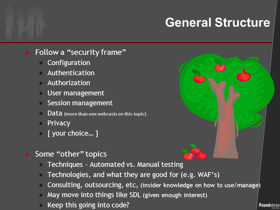 General Structure ► Follow a security frame ● Configuration ● Authentication ● Authorization ● User management ● Session management ● Data (more than one webcasts on this topic) ● Privacy ● [ your choice… ] ► Some other topics ● Techniques - Automated vs.